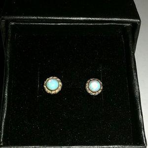 Jewelry - Antique 10k Blue Opal Earrings